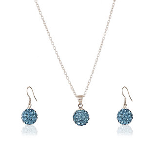 Fasherati Silver and Blue Disco Ball Pendant Set and Earrings for Girls