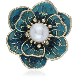 Fasherati Bright Blue Color Enamel Flower Brooch For Women