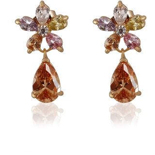 Fasherati Multi Crystal Pear Shaped Flower Rose Gold Plated Drop Dangler Earrings for Girls