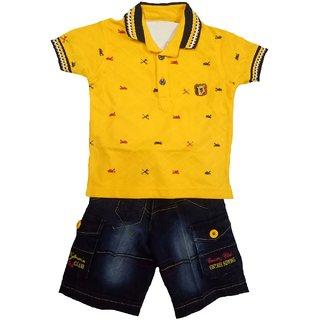 Boys yellow colour casual wear printed tshirt capri set
