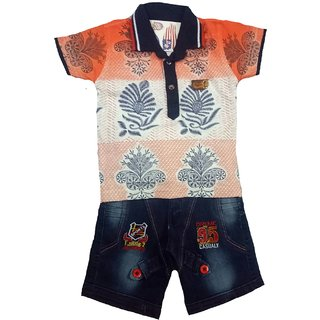 8e0c1e41 Buy Boys orange n white colour casual wear printed tshirt capri set ...