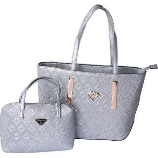 Eleegance Silver Women Handbag with Pouch