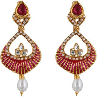 Fasherati PInk Enameled Dangler Earrings For Women