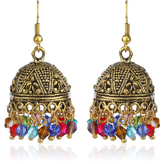 Fasherati Traditional Indian  Carved Jhumki Earrings In Colorful Beads For Women