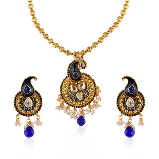 Fasherati Blue Enameled Cairi Motif Kundan Pendant Set For Women