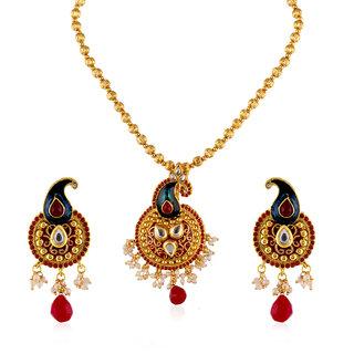 Fasherati Peacock Red Enamel  Ethnic Necklace Set For Women