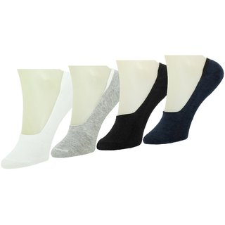Neska Moda Premium Men and Women 4 Pairs Cotton Loafer Socks With Silicon Gel Grip Multicolor S675