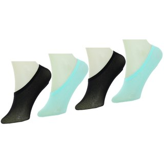 Neska Moda Women 4 Pairs Cotton Belly Low Cut Socks With Silicon Gel Grip Multicolor S686