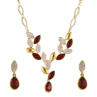 Fasherati Gold And Red Crystal Leaf Necklace Set For Women