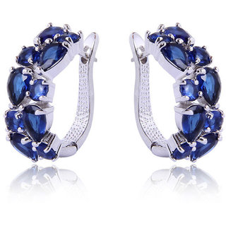 Fasherati Colorful Zircon Blue Crystal  Stud Earrings for Girls