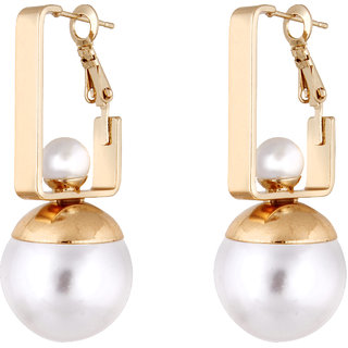 Fasherati Pearl and Gold Earrings for Girls