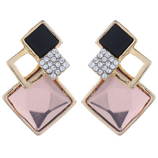 Fasherati Big Light Brown Crytal Square Stud Earrings For Women
