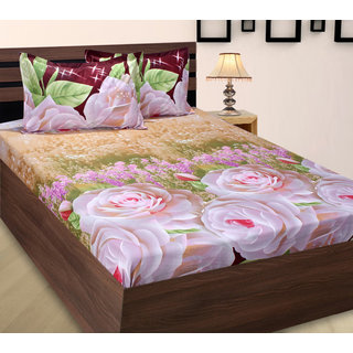 Home Berry Floral Polycotton Peach Finish Double Bed Sheet With Two Pillow  Cover