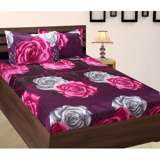 Home Berry Floral Polycotton Double Bed Sheet With Two Pillow Cover