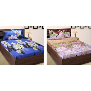 Home Berry Polycotton Peach Finish Double Set Of 2 Bed Sheet With Four Pillow Cover