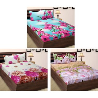 Home Berry Polycotton Peach Finish Double Set Of 3 Bed Sheet With 6 Pillow  Cover