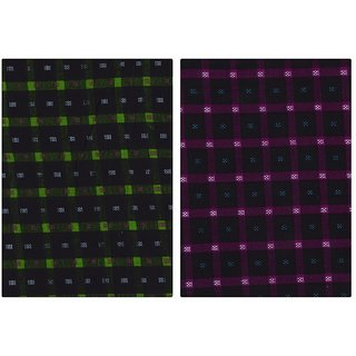 Nakoda Creation Multicolor Men's Cotton Checks Shirt Fabric (Pack Of 2)
