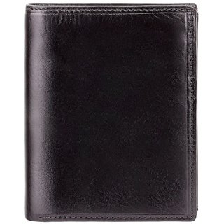 Visconti Milan Bi-Fold Black Genuine Leather Wallet For Men With RFID