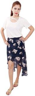 Rivi Women's Blue Georgette Skirt