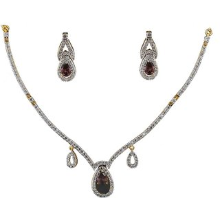 Anuradha Art Golden Finish Very Classy Stylish Wonderful Royal Look  American Diamonds Stone Necklace Set For Women