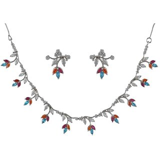 d88eb193c7 Anuradha Art Multi Colour Classy Wonderful Delicated American Diamonds  Stone Necklace Set For Women