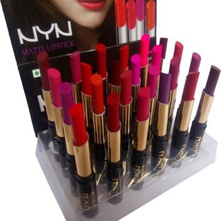 Nyn Long Lasting Matte  Rich Color Professional 24 Shades Lipstick Multicolor