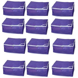 Fashion Bizz Non Woven Purple Saree covers Set of 12 Pcs Combo/Wardrobe Organiser/Regular Clothes Bag