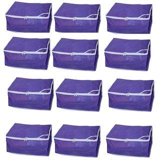 Fashion Bizz Non Woven Purple Saree covers Set of 12 Pcs Combo/Wardrobe Organiser/Regular Clothes Bag