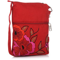 Red And Pink Embrodidery  Sling