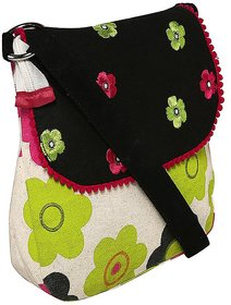 Lime Green Flower Canvas Sling Bag With Black Top And E
