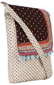 Gold And Pink Dot Canvas Sling Bag With Brown Top And E