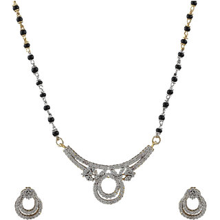 Anuradha Art Presenting Stylish Mangalsutra Studded With American Diamonds Mangalsutra Set For Women