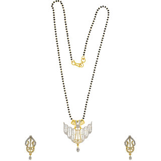 Anuradha Art Exclusively Golden Finish Designer Studded With American Diamonds Mangalsutra Set For Women