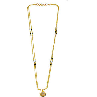 Anuradha Art Goldne Tone Stylish Waati Pattern Designer Mangalsutra For Women