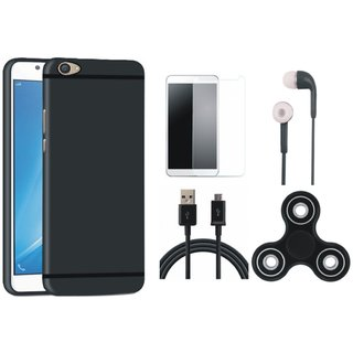 Redmi A1 Soft Silicon Slim Fit Back Cover with Spinner, Earphones, Tempered Glass and USB Cable
