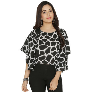 Chimpaaanzee women Black & White Kimino sleeve Crop Top