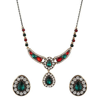 Anuradha Art Multi Colour Studded Shimmering Stone Wonderful Necklace Set For Women/Girls