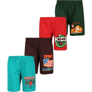 Dongli Short For Boys (Dark Green, 10 - 11 Years, Pack Of 4)