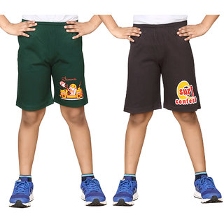 Dongli Short For Boys (Dark Green, 10 - 11 Years, Pack Of 2)