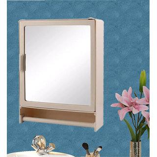 Zahab Hifi Single Door Plastic Bathroom Cabinet with Mirror/Rod ivory
