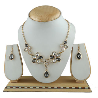 Anuradha Art Golden Colour Very Simple Stylish Wonderful Party Wear Korean Necklace Set For Girls/Women