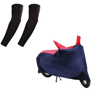 HMS Bike body cover with mirror pocket for Hero Glamour Fi + Free Arm Sleeves - Colour RED AND BLUE