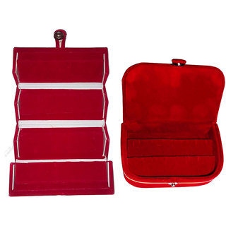 ABHINIDI Combo 1 pc red earring folder and 1 pc red ear ring box vanity case