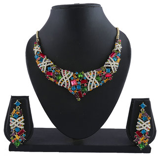 Anuradha Art Multi Colour Beautiful Classy Designer Necklace Set For Women/Girls