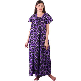 LDHSATI Fashion Women Serena Satin flower Printed Lace nightwear night dress sleepwear Maxi Nightgown for women women's free size Blue Multicolor
