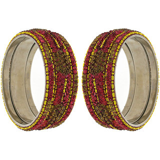 Anuradha Art Pink Finish Studded Shimmering Stone Classy Ethnic Bangles Set For Women/Girls