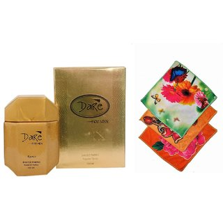 Ramco Exotic Dare Gold Perfume 100ML 3 Women Cotton Handkerchiefs