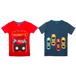 Lazy Shark Cotton Short Sleeve Printed Red & Navy Blue T-shirts (Pack of 2)