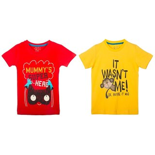 Lazy Shark Cotton Short Sleeve Printed Red & Yellow T-shirts (Pack of 2)