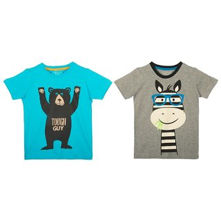 Lazy Shark Cotton Short Sleeve Printed Blue & Grey T-shirts (Pack of 2)